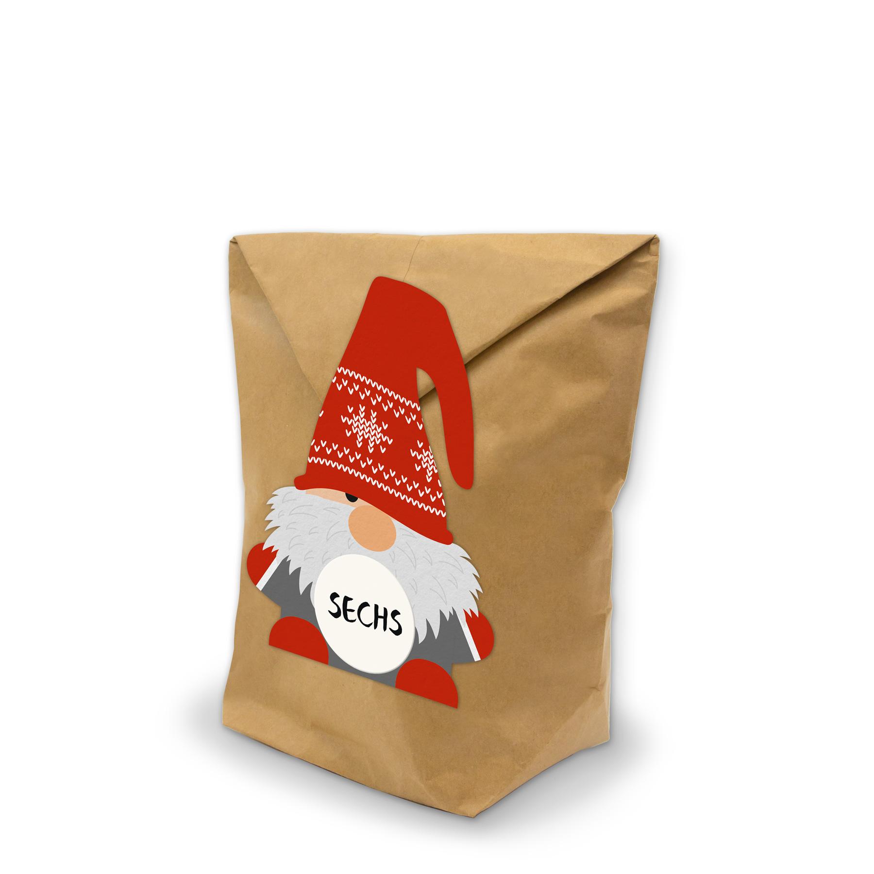 Adventskalender BastelSet Wichtel-Figuren zum Füllen Geschenktüten Klammern Sti