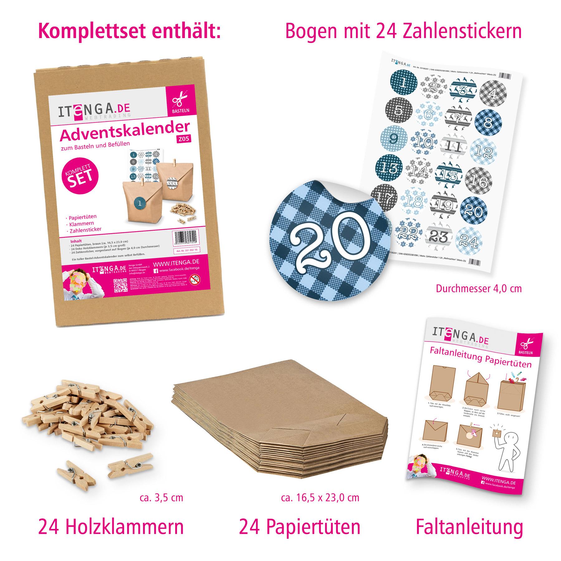 adventskalender set papiert ten klammern sticker zum selberf llen und basteln ebay. Black Bedroom Furniture Sets. Home Design Ideas